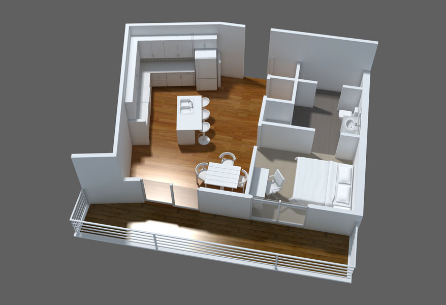 One Bedroom Apartment Layout With Balcony